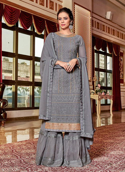 Deep Grey Embroidered Georgette Sharara Suit