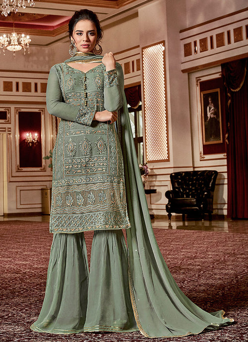 Deep Green Embroidered Georgette Sharara Suit
