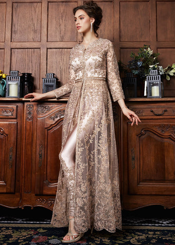 rose gold coppers embroidered wedding lehenga suit