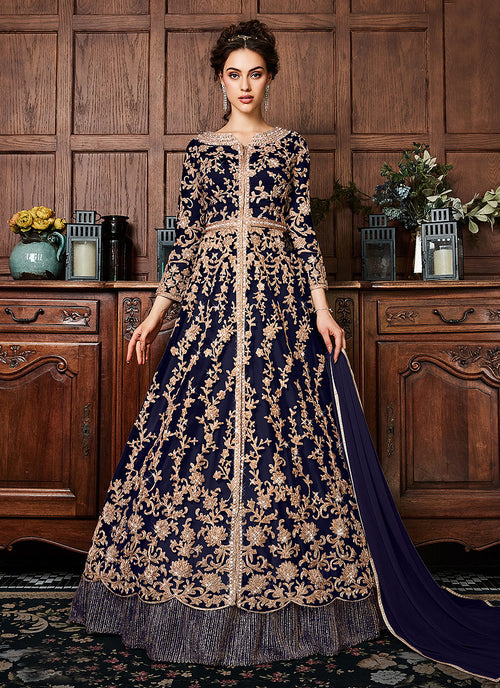 Blue Coppers Embroidered Wedding Lehenga Suit