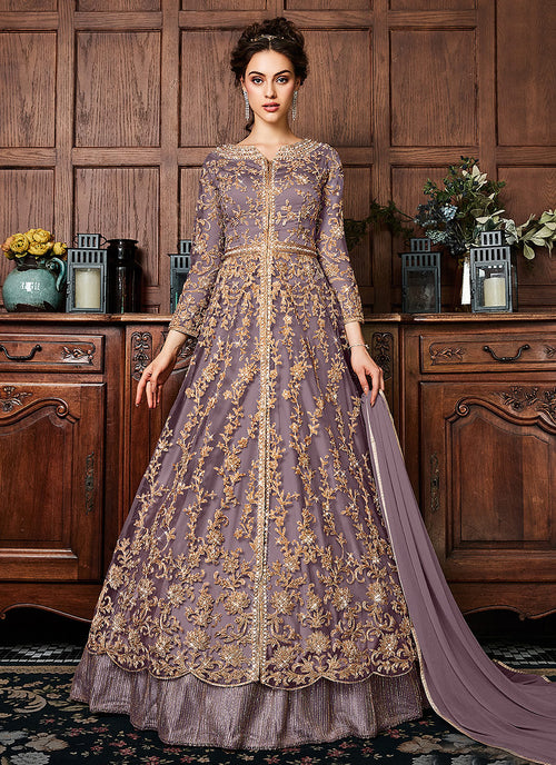 Purple Coppers Embroidered Wedding Lehenga Suit