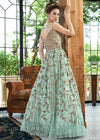 Aqua Blue Floral Party Wear Anarkali Suit