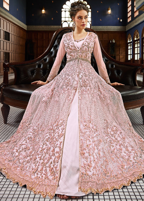 Light Pink Embroidered Anarkali Lehenga Suit