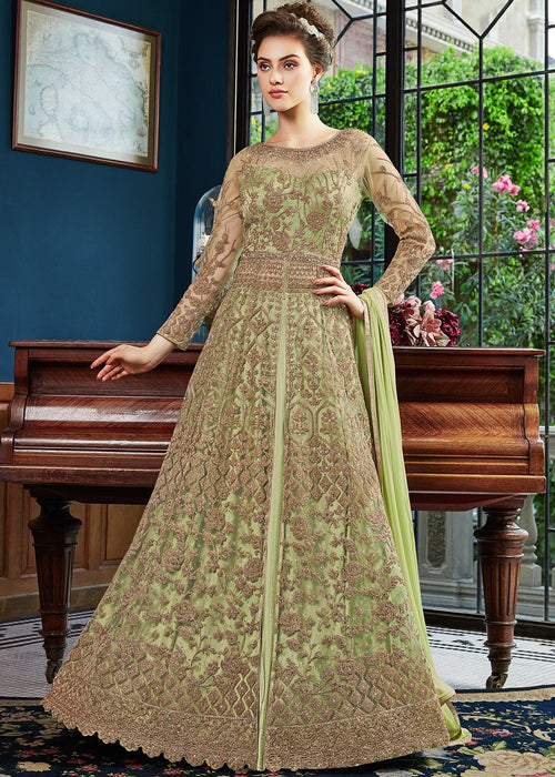 Light Green Embroidered Anarkali Pant Suit