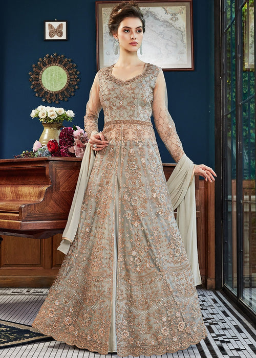 Teal And Golden Wedding Anarkali Lehenga Suit