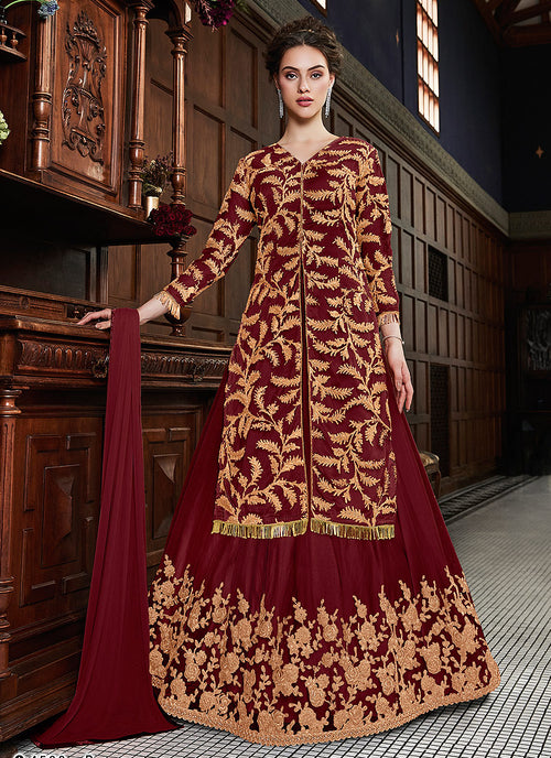 Red Golden Zardoshi Embroidered Party Wear Lehenga Suit