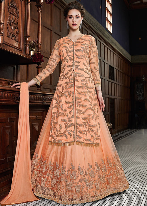 Orange Golden Party Wear Lehenga Suit