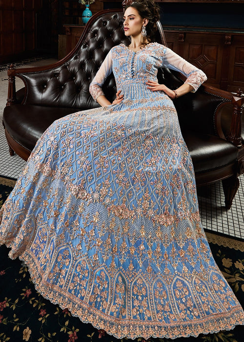 Blue Multi Traditional Anarkali Gown