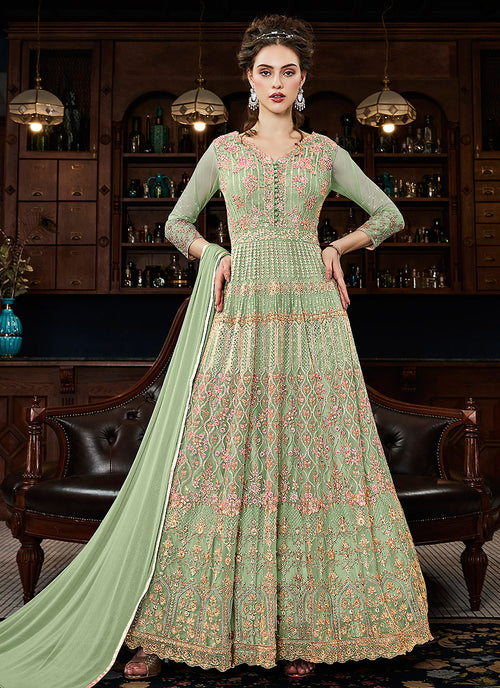 Green Multi Embroidered Traditional Anarkali Gown