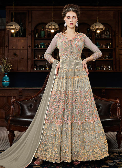 Grey Multi Embroidered Traditional Anarkali Gown