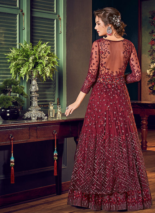 Maroon Embroidered Slit Style Anarkali Lehenga Suit