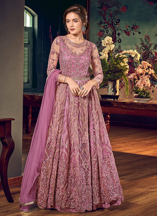 Purple Golden Embroidered Anarkali Pant Suit