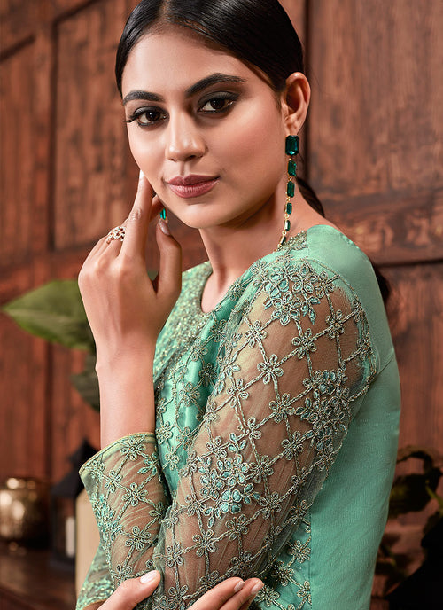 Indian Suits - Mint Green Multi Embroidered Suit