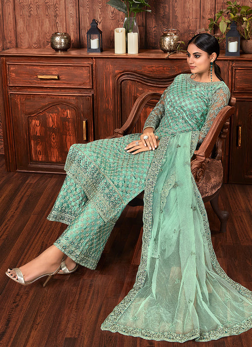 Indian Dresses - Mint Green Multi Palazzo Suit