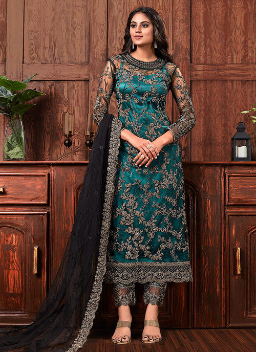 Turquoise And Black Designer Salwar Kameez