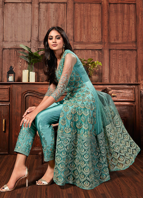 Indian Dresses - Blue Golden Embroidered Slit Style Anarkali Pants Suit