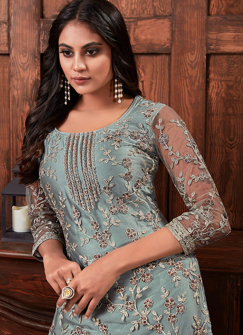 Indian Suits - Teal Blue Multi Embroidered Palazzo Suit