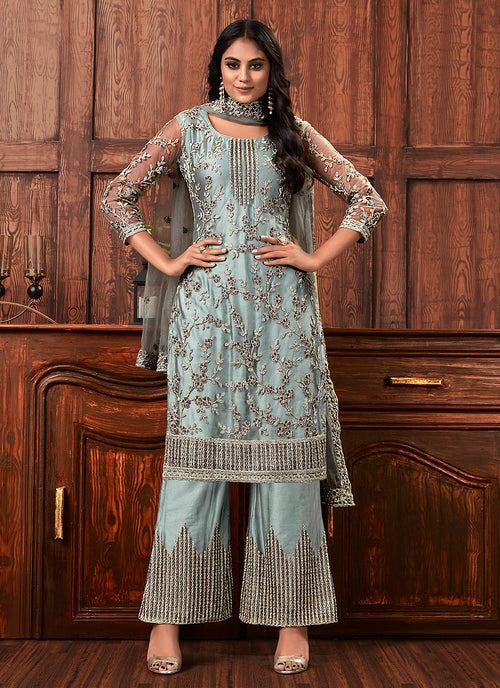 Indian Clothes - Teal Blue Multi Embroidered Designer Palazzo Suit