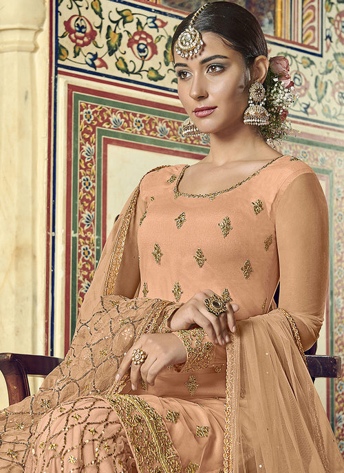 Indian Clothes - Peach Designer Gharara Suit