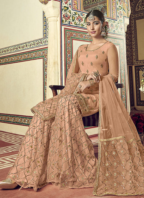 Indian Suits - Peach Gharara Suit