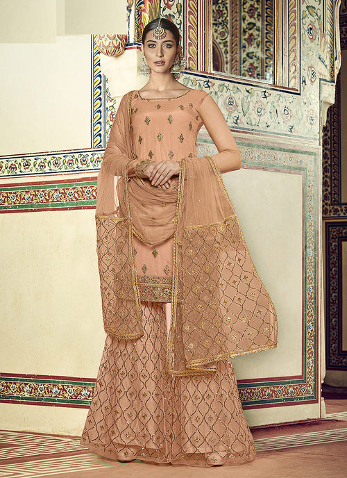 Peach Golden Designer Gharara Suit