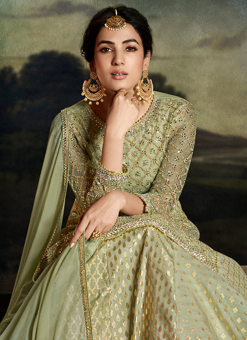 Green Golden Sharara Suit In usa