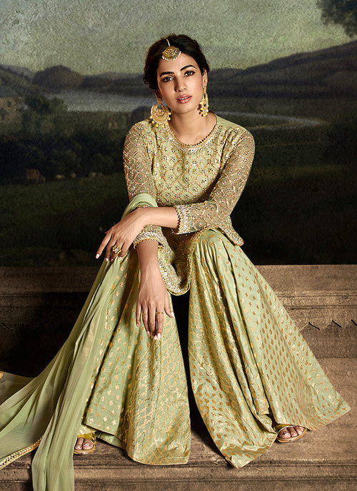 Green Golden Sharara Suit In usa uk canada