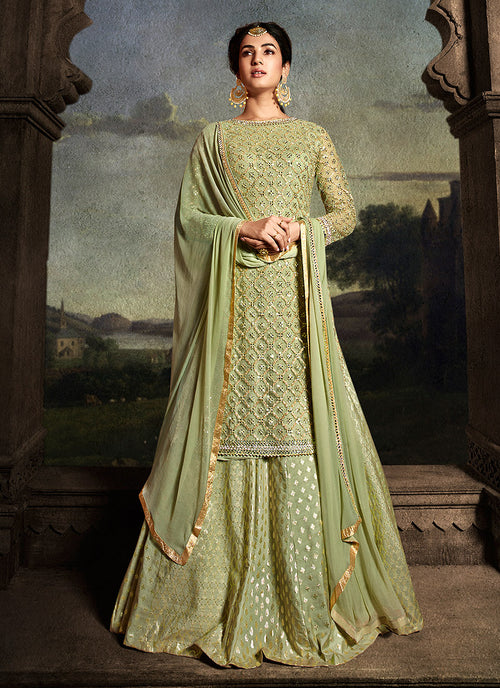 Green Golden Embroidered Sharara Suit