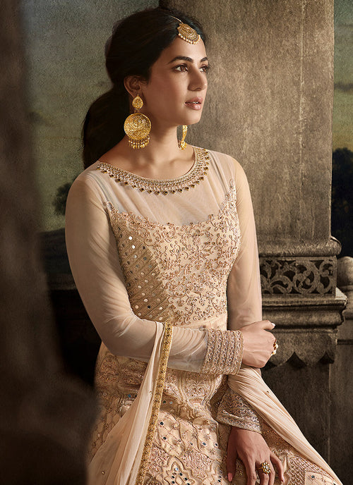 Peach Golden Anarkali Suit In usa