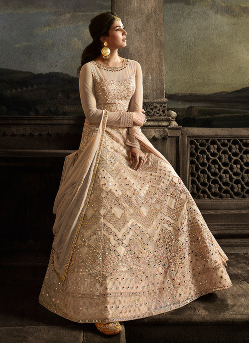 Peach Golden Anarkali Suit In usa uk canada