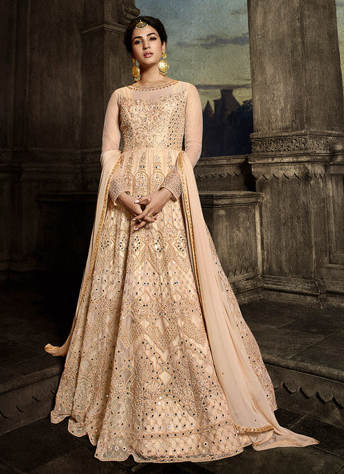 Peach Golden Embroidered Anarkali Suit