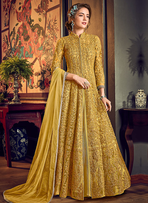 Yellow Golden Anarkali Lehenga Suit