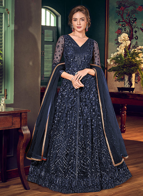 Navy Blue Anarkali Lehenga Suit