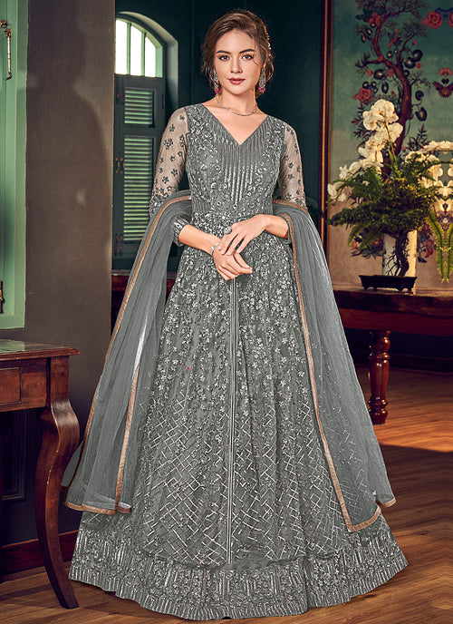 Dark Grey Anarkali Lehenga Suit