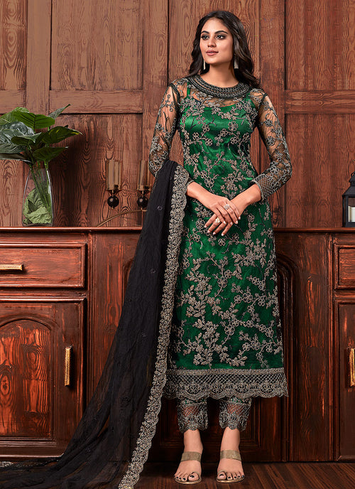 Green And Black Embroidered Designer Pants Suit