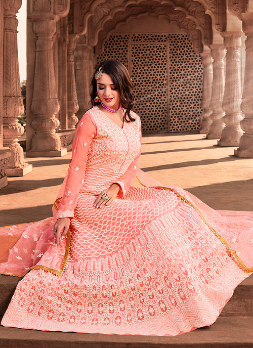 Indian Suits - Pastel Pink Lucknowi Suit