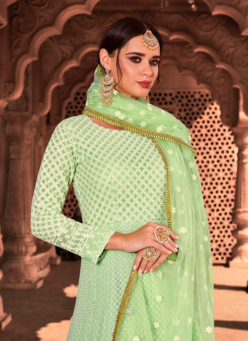Indian Dresses - Light Green Lucknowi Embroidered Anarkali Suit