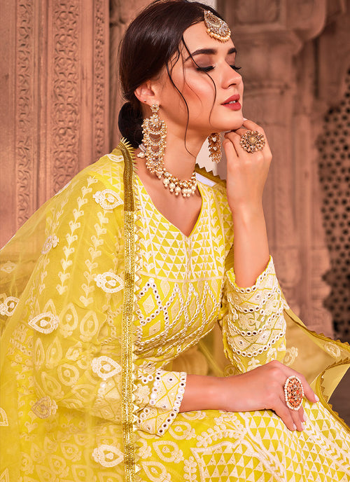 Indian Dresses - Bright Yellow Anarkali Suit