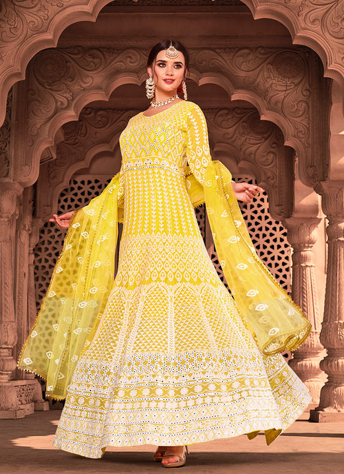 Indian Suits - Bright Yellow Anarkali Suit