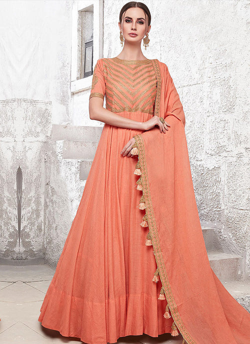 Orange Ethnic Embroidered Designer Anarkali Suit