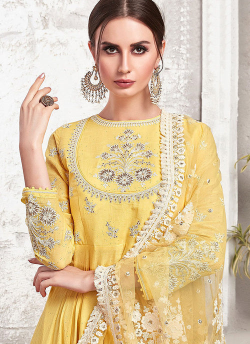 Yellow Ethnic Embroidered Designer Anarkali Suit