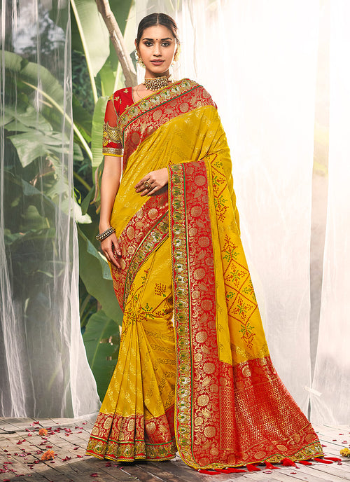 Yellow And Red Silk Saree