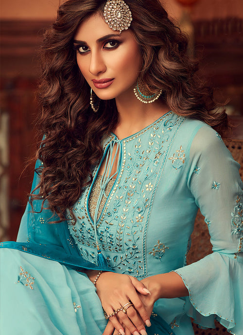 Sky Blue Embroidered Designer Palazzo Suit