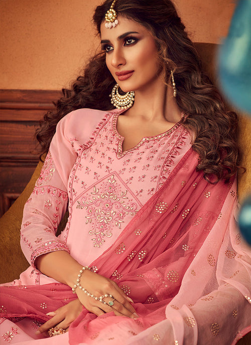 Blush Pink Embroidered Designer Palazzo Suit, Salwar Kameez