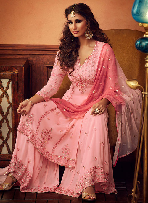 Blush Pink Embroidered Designer Palazzo Suit