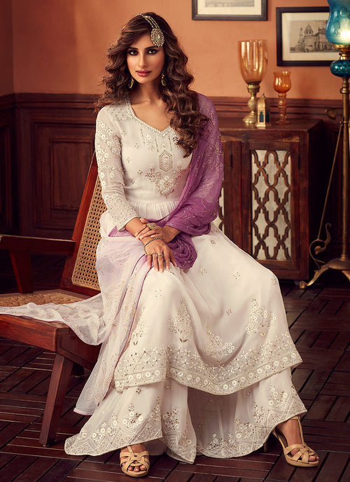 White And Purple Embroidered Designer Palazzo Suit, Salwar Kameez