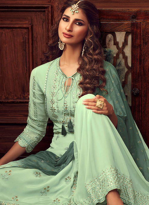 Mint Green Embroidered Designer Palazzo Suit