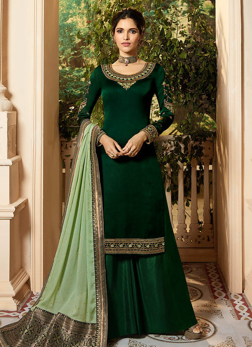 Green Dual Tone Palazzo Pant Suit