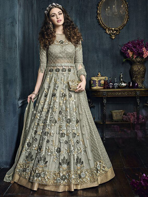 Green Fancy Partwear Lehenga Style Suit