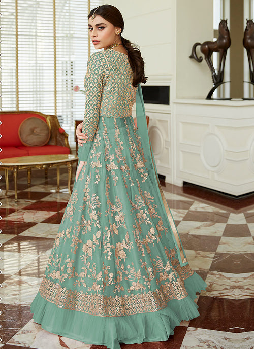 Indian Clothes - Blue Golden Embroidered Net Anarkali Lehenga Suit